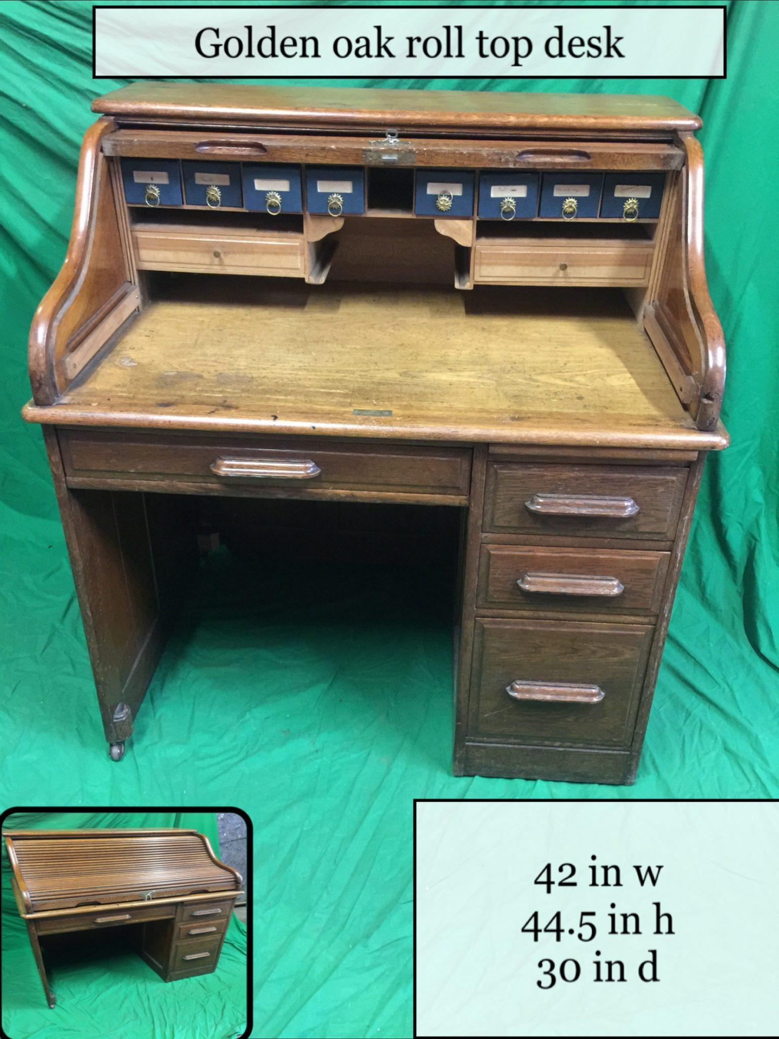 Thbsprtd001 Oak Single Pedestal Roll Top Desk Image
