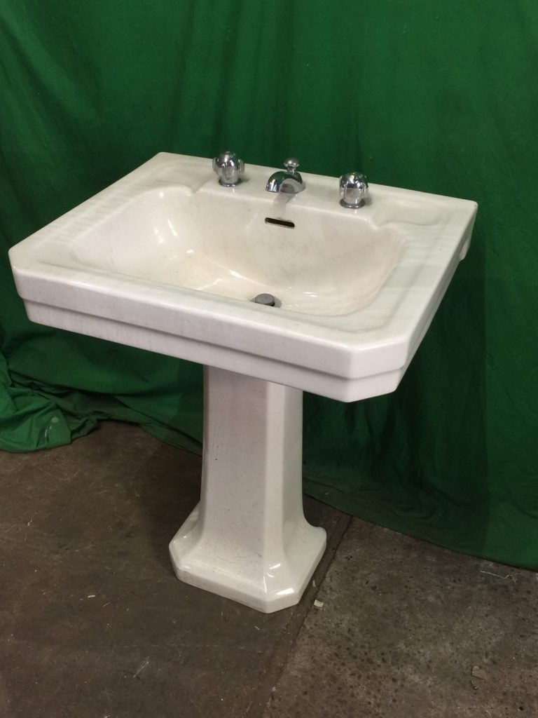 THBCPS01 cream ceramic sink and pedestal with chrome deco taps ...