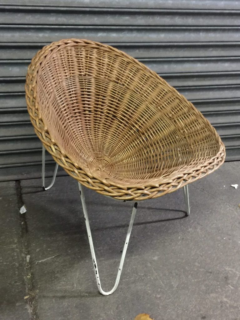 THBWWTC01 Wicker tub chair on white metal frame • Trevor Howsam Limited